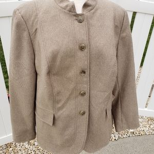 NYP Suits Solid Beige Khaki Button Blazer Size 18W